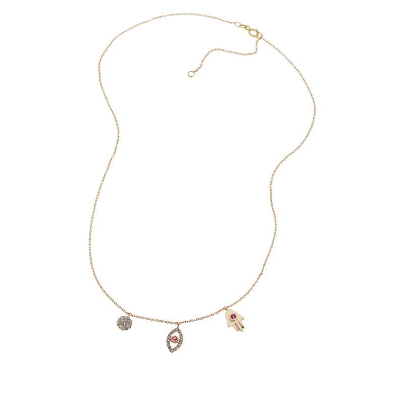 Rarities 10K Gold Diamond and Ruby Talisman Necklace