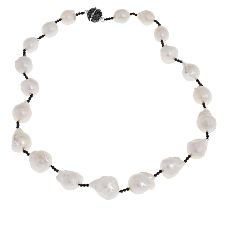 "Rarities 20-1/2"" Cultured Freshwater Pearl and Black Spinel Necklace"