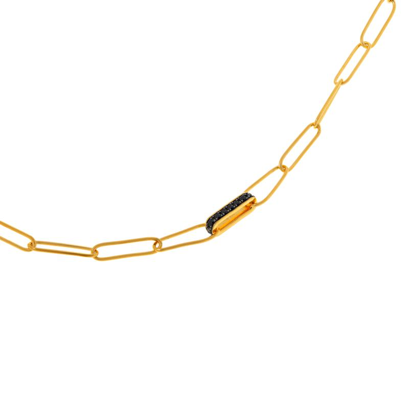 """Rarities 20"""" Gold-Plated Gem-Accented Paper Clip Necklace"""