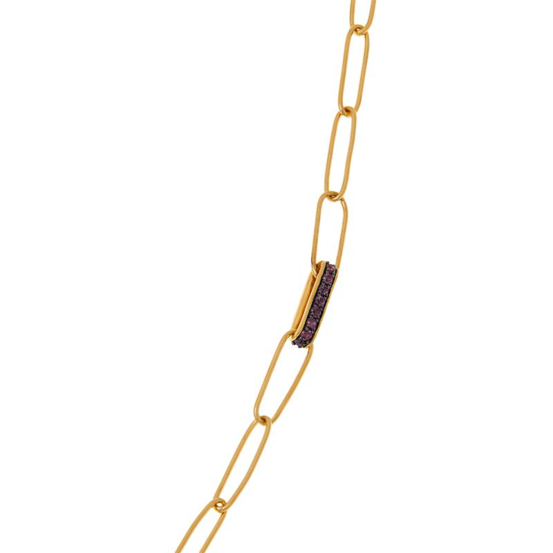 """Rarities 20"""" Gold-Plated Gem-Accented Paperclip Necklace"""