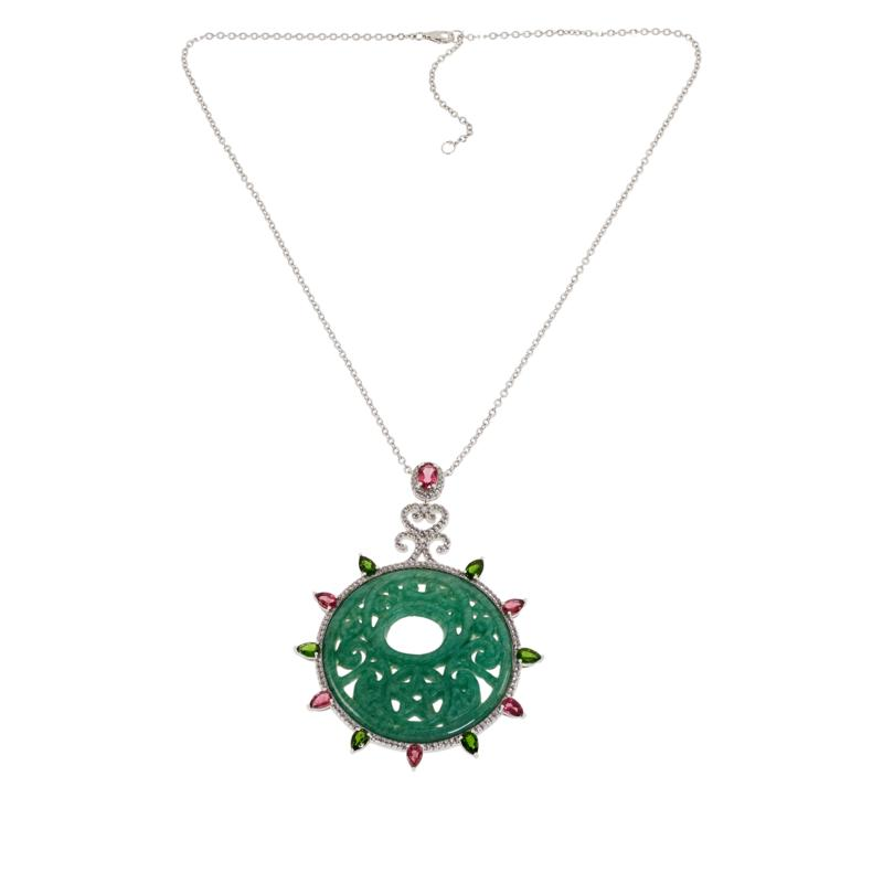 Rarities Carved Green Aventurine and Multi-Gem Pendant with Necklace