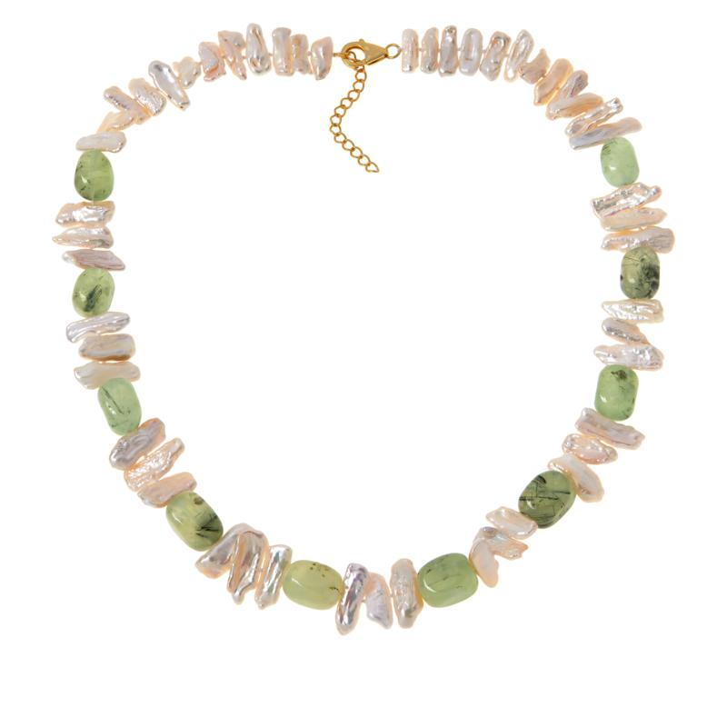 """Rarities Cultured Keshi Pearl and Gemstone 22"""" Necklace"""