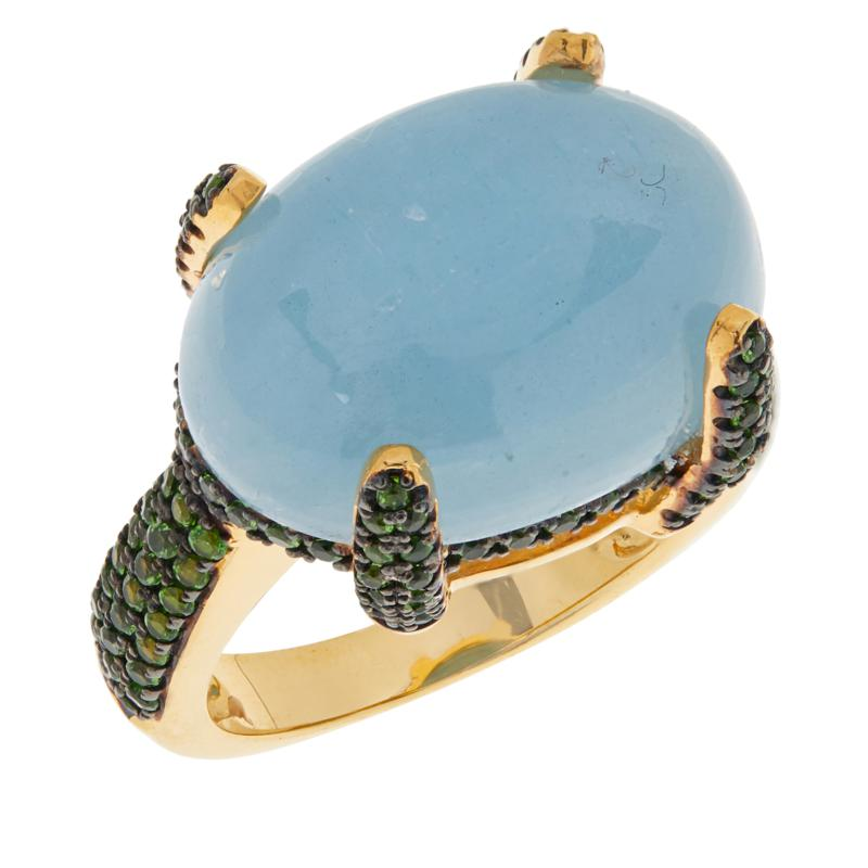 Rarities Gold-Plated Aquamarine and Chrome Diopside Pavé Ring