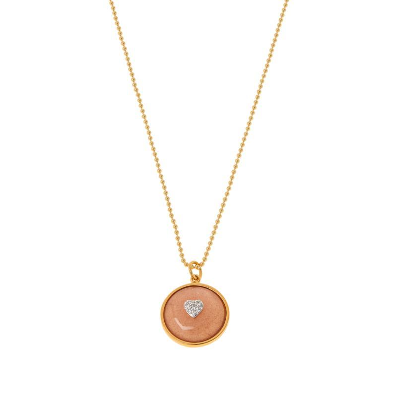 Rarities Gold-Plated Gemstone & White Zircon Round Pendant with Chain