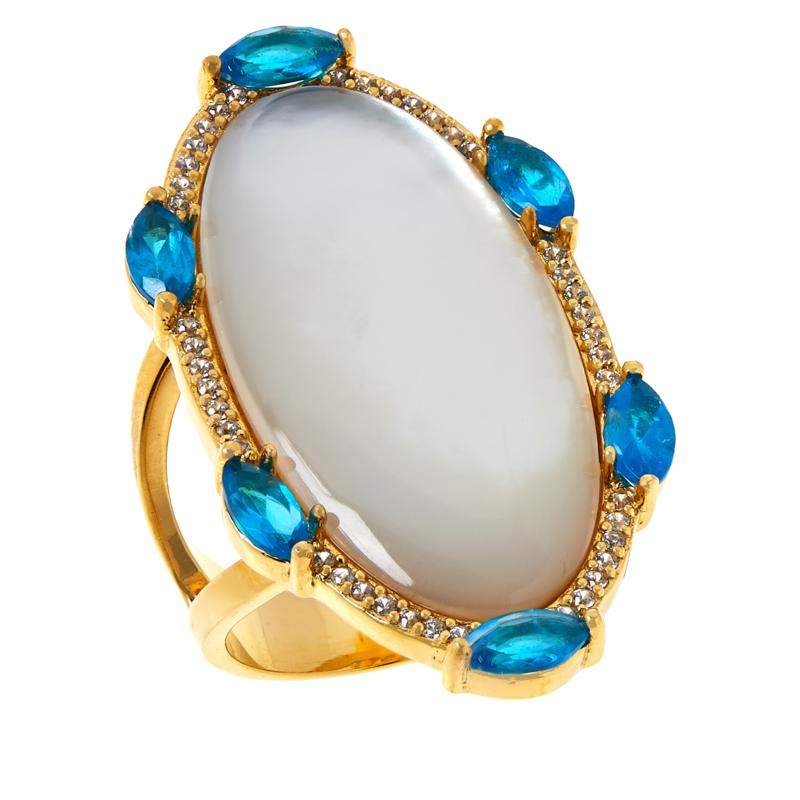 Rarities  Gold-Plated Mother-of-Pearl and Multi-Gemstone Oval Ring