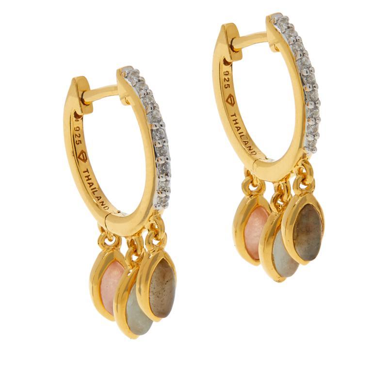 Rarities Gold-Plated Multi-Gemstone Hugger Hoop Fringe Earrings