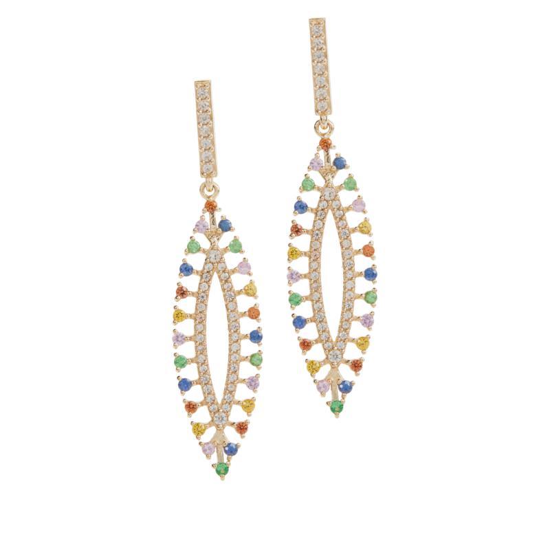 Rarities Gold-Plated Multigemstone Elongated Dangle Earrings