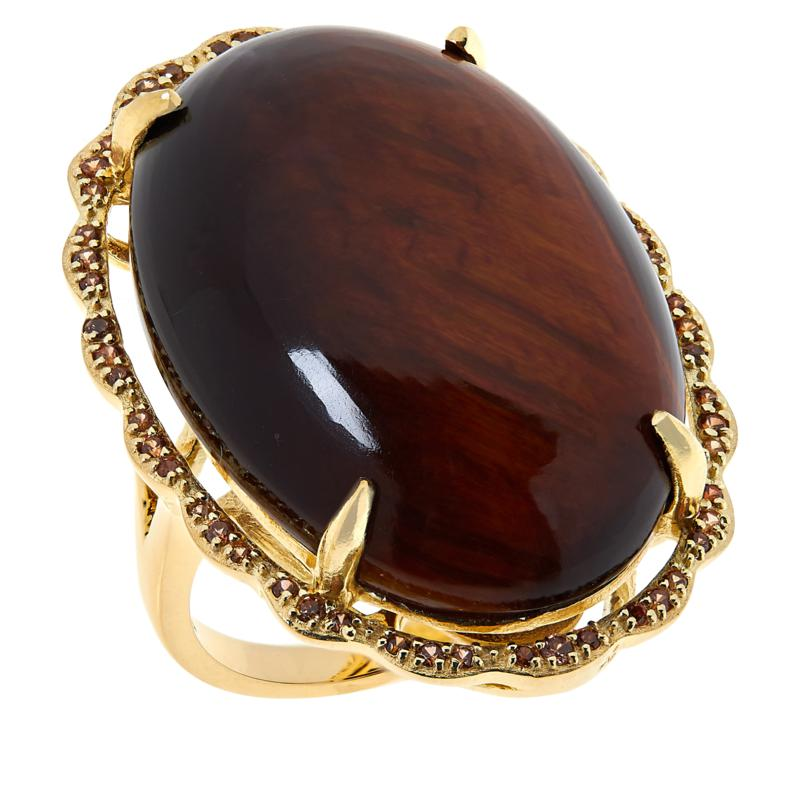 Rarities  Gold-Plated Tiger's Eye and Champagne Zircon Oval Ring