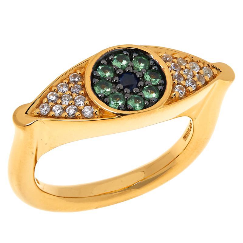 Rarities Gold-Plated Tsavorite, Sapphire & White Zircon Evil Eye Ring