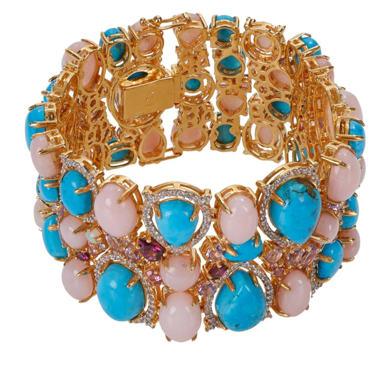 "Rarities Goldtone Blue Howlite and Multi-Gemstone 7"" Cluster Bracelet"