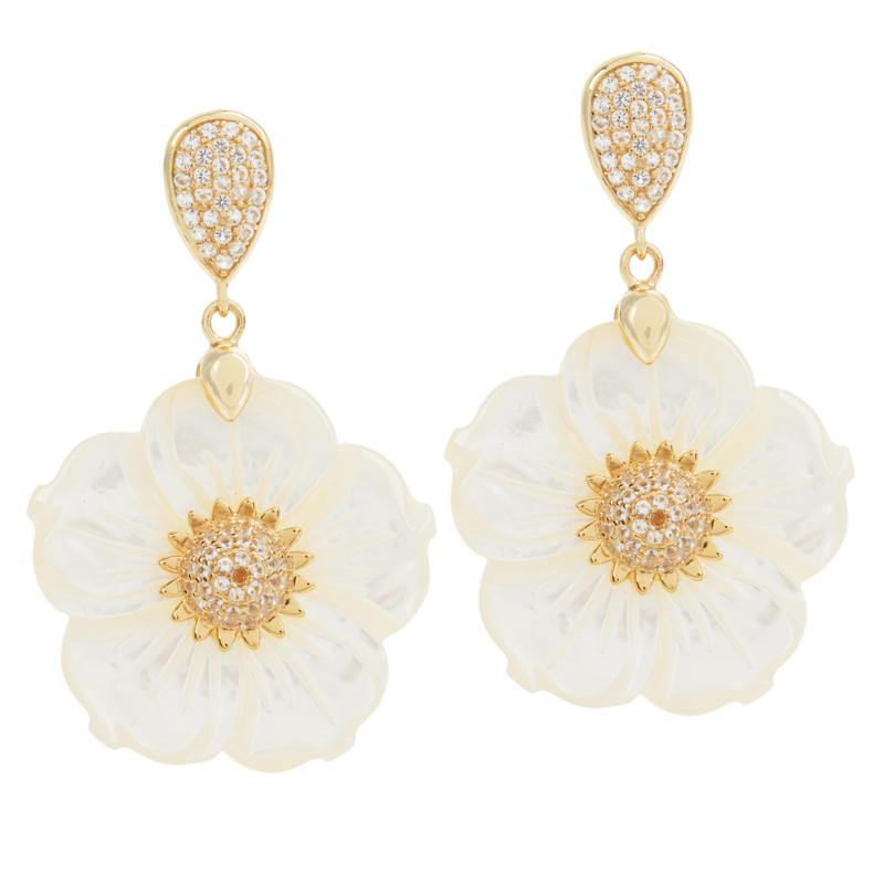 Rarities Goldtone Mother-of-Pearl and White Topaz Flower Earrings
