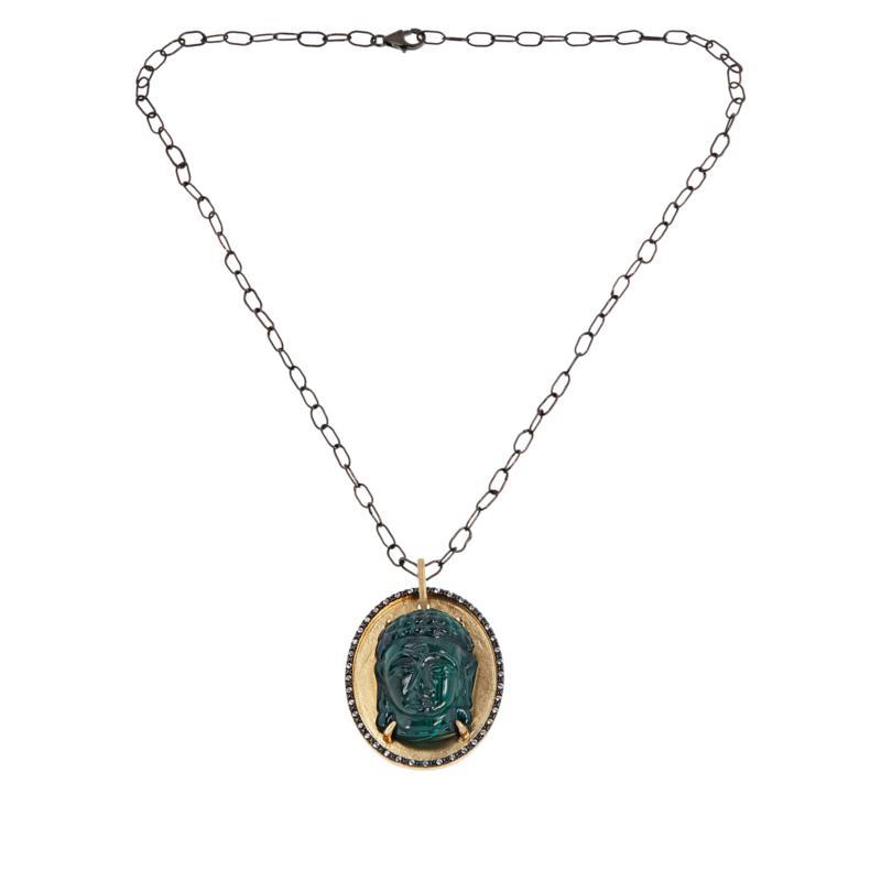 Rarities Malachite and Zircon Buddha Pendant with Black Rhodium Chain