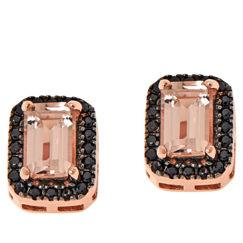 Rarities Rose Gold-Plated Peach Morganite & Black Spinel Stud Earrings