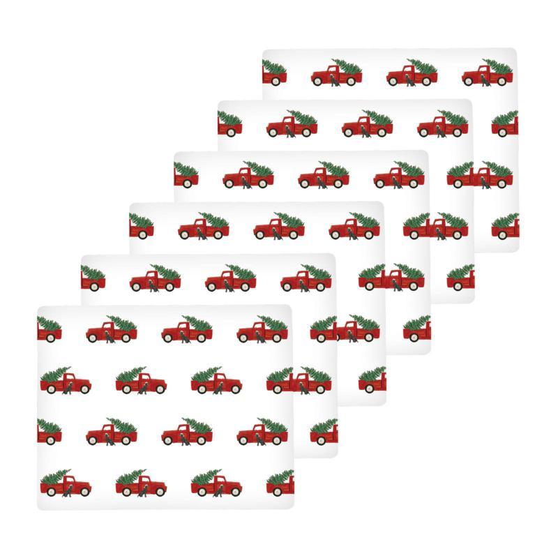 Red Trucks Hardboard Placemat Set of 6