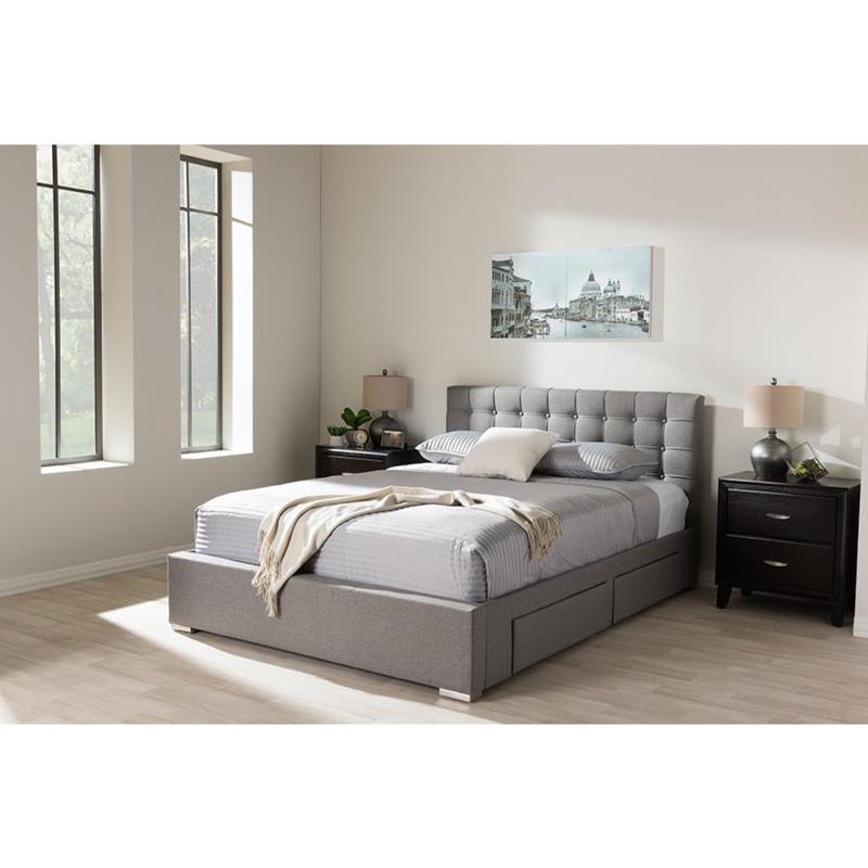 Rene Fabric Upholstered 4-Drawer Queen Size Storage Platform Bed