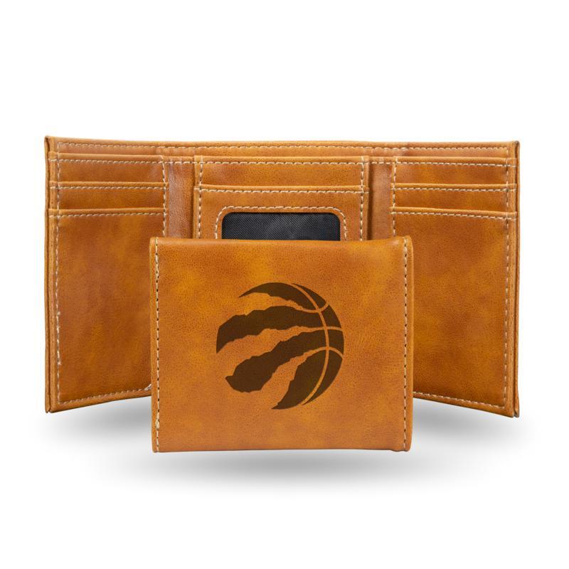 Rico Laser-Engraved Brown Tri-fold Wallet - Raptors