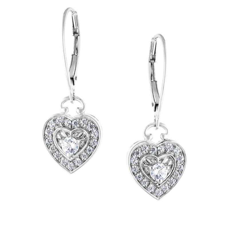 """Robert Manse """"CZ RoManse"""" Sterling Silver Heart Drop Earrings"""