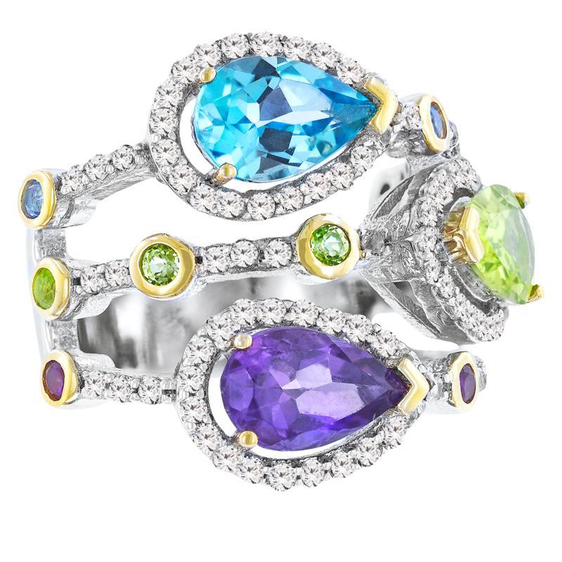 "Robert Manse ""Gem RoManse"" Two-Tone Multi-Colored Multi-Gemstone Ring"