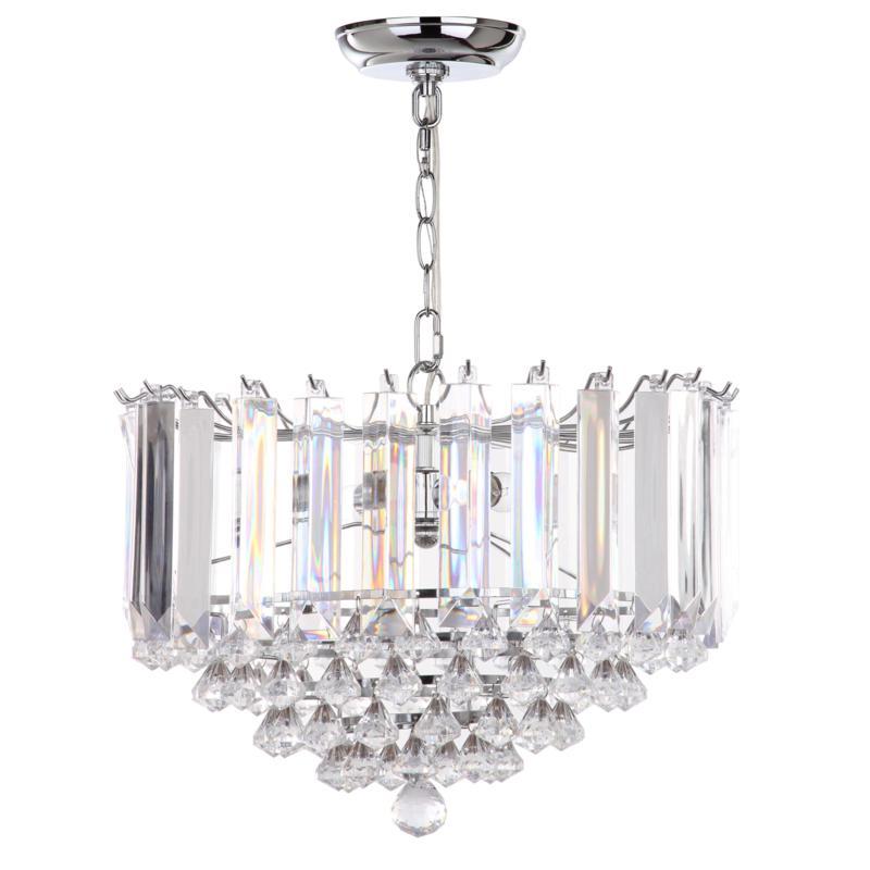 "Safavieh Hampton 2 Light Chrome 16-1/2"" Diameter Glass Pendant"