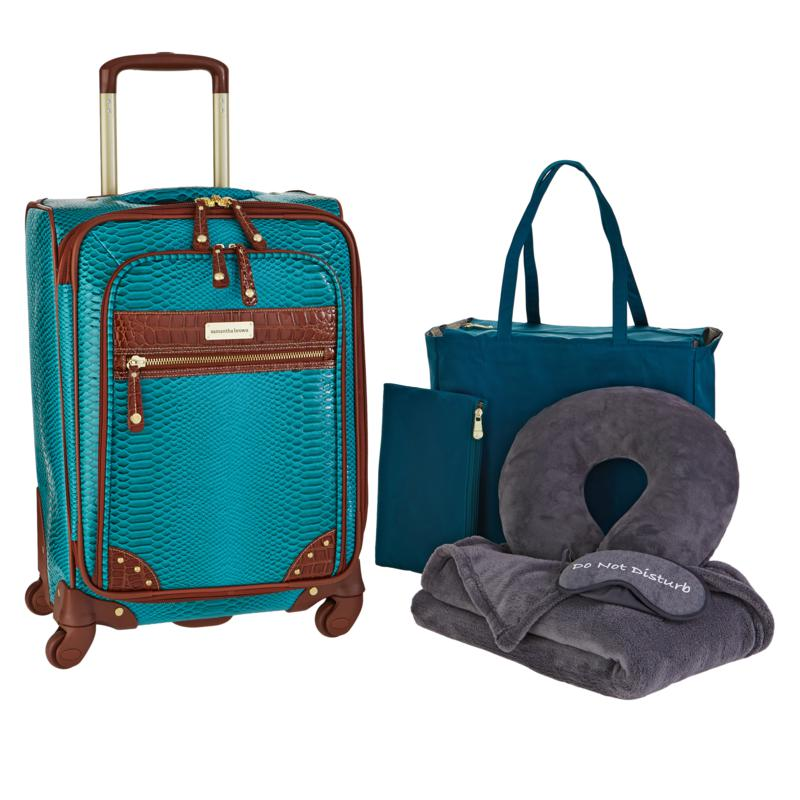 """Samantha Brown Embossed Ombre 22"""" Spinner with Essentials Set"""