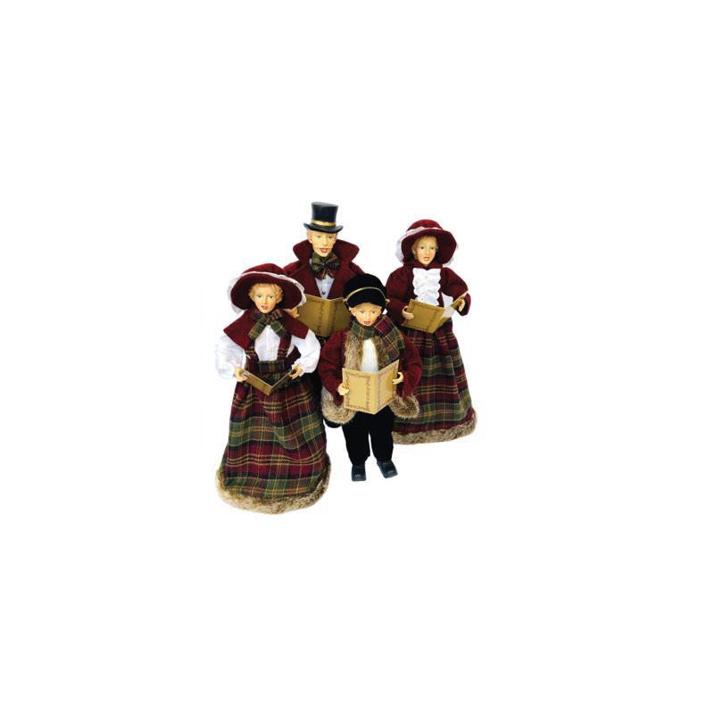 "Santa's Workshop 20""-27""  Burgundy Plaid Caroling Family Figurines"