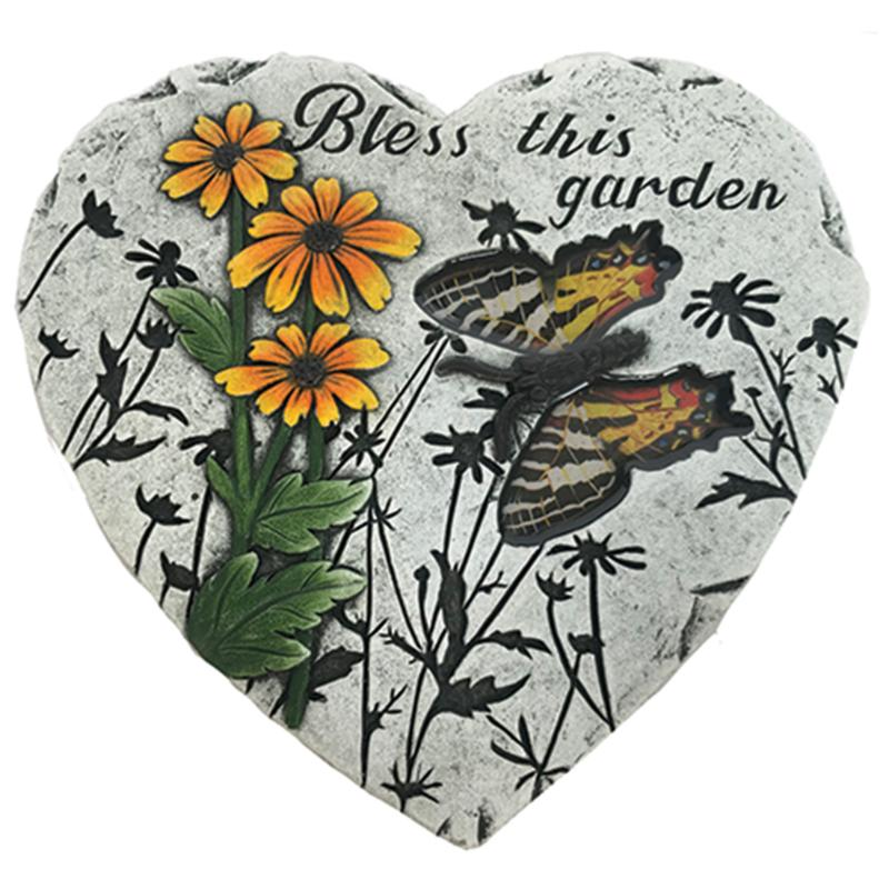 Santa's Workshop Cement Bless This Garden Heart-Shaped Stepping Stone