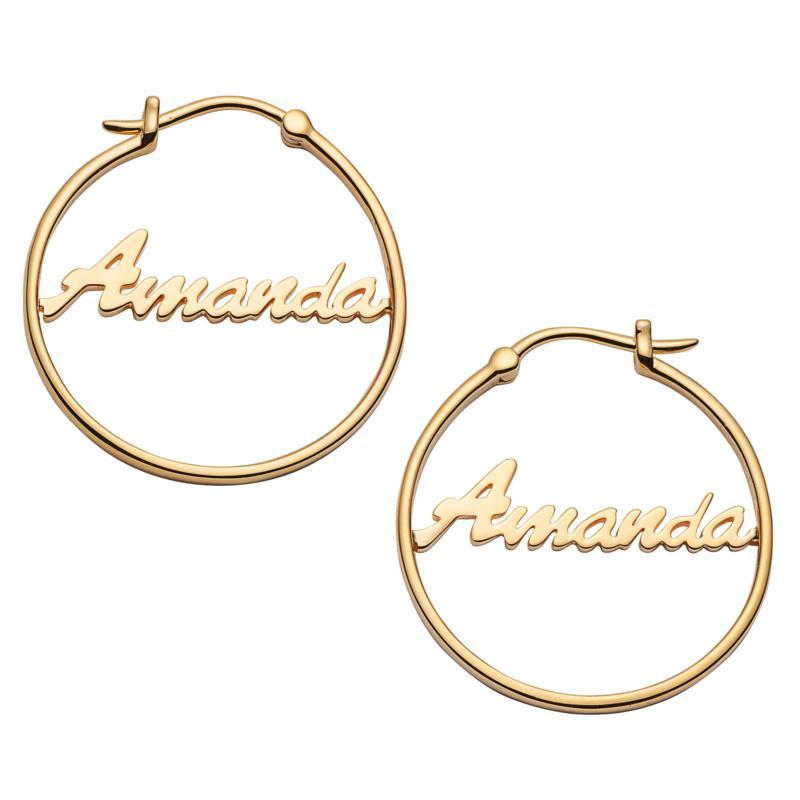 Script Name Small 25mm Hoop Earrings