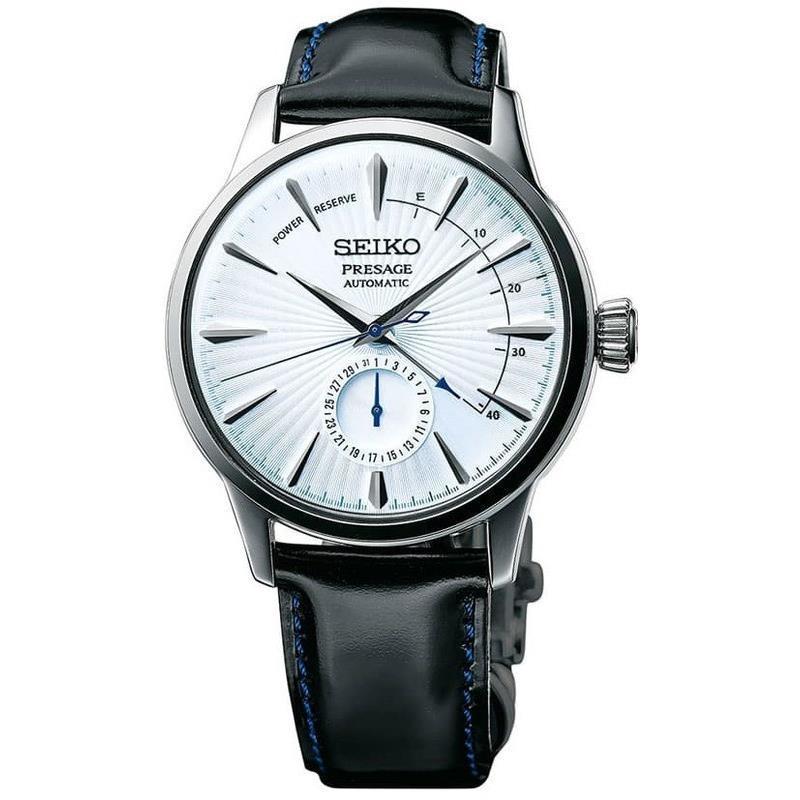 Seiko Men's Presage White Dial Leather Strap Automatic Watch