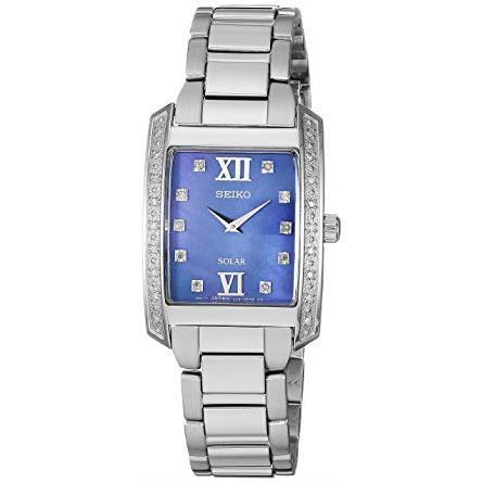 Seiko Women's Stainless Steel Blue Dial Diamond Bracelet Watch