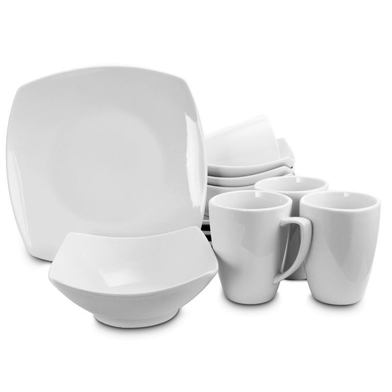 Serving Time Buffetware 12 pc Dinnerware Set - Square in White