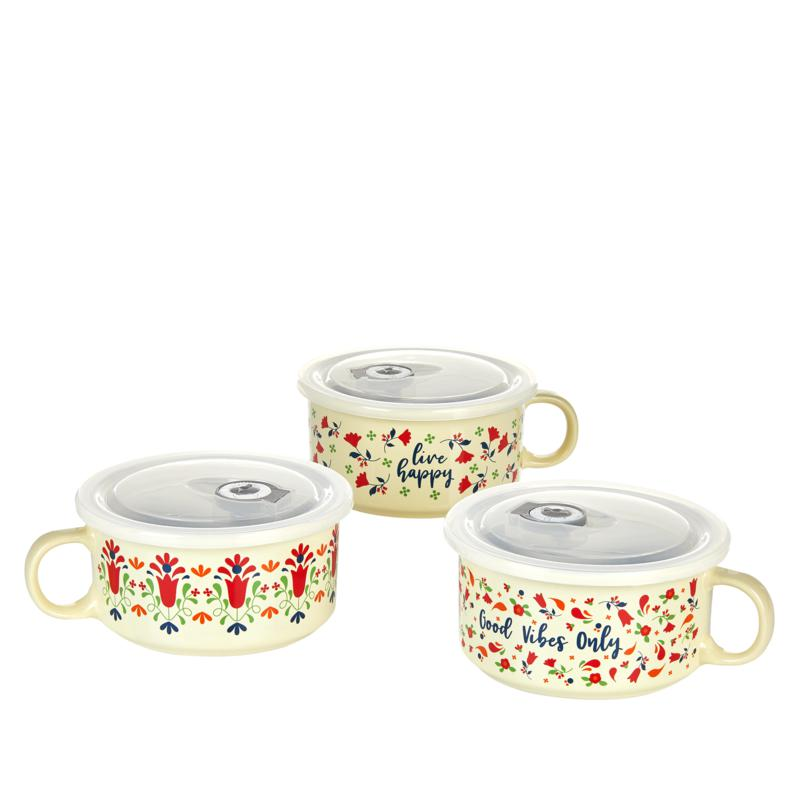 Set of 3 Floral Souper Mugs with Lids