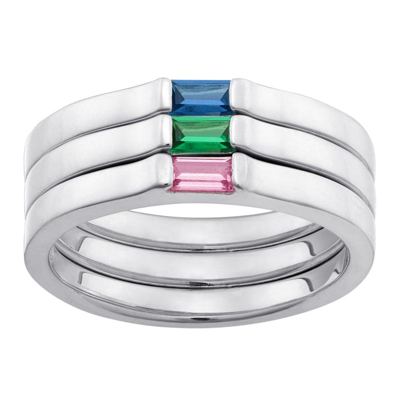 Set of 3 Stackable Sterling Silver Birthstone Crystal Rings