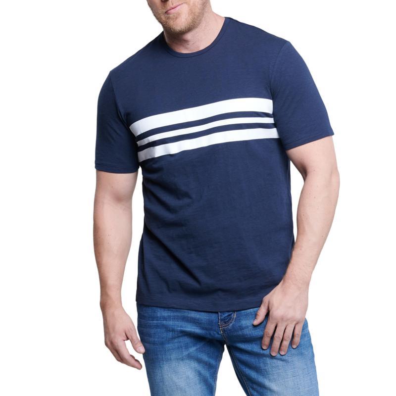 Seven7 Men's Short-Sleeve Stripe Top - Slate Blue/White