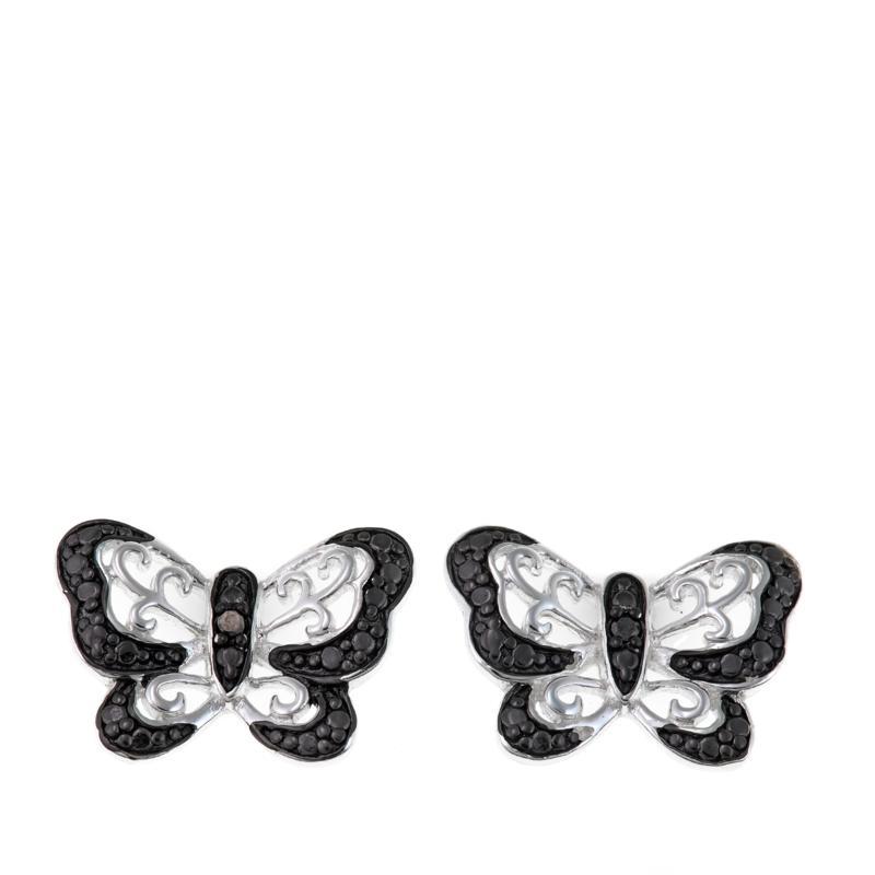 Sevilla Silver™ .02ctw Black Diamond Butterfly Stud Earrings