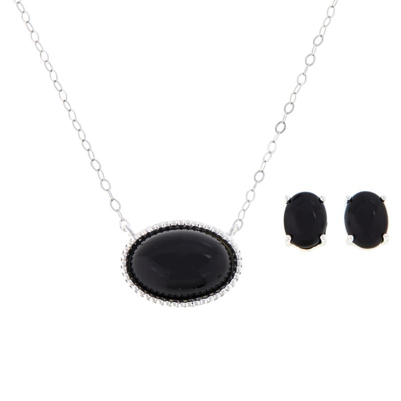 Sevilla Silver™ Oval Gemstone Necklace and Earring Set