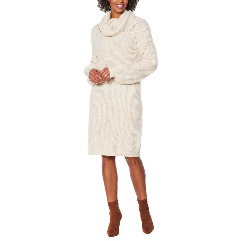 Skinnygirl Puff-Sleeve Turtleneck Sweater Dress