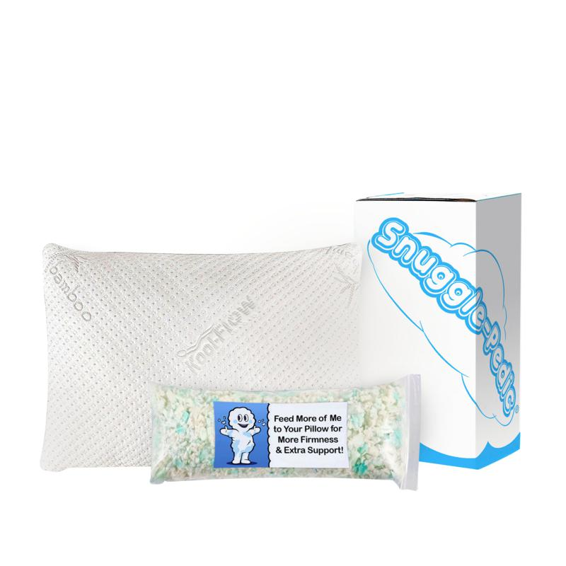 Snuggle-Pedic Ultra Luxury Adjustable Queen Bamboo Pillow w/Extra Fill