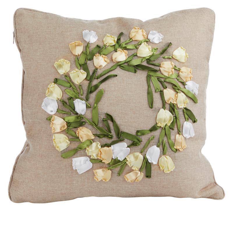 Spring Collection Decorative Pillow - Tulip Ribbon Wreath