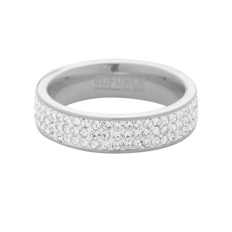 Stately Steel 3-Row Cubic Zirconia Band Ring