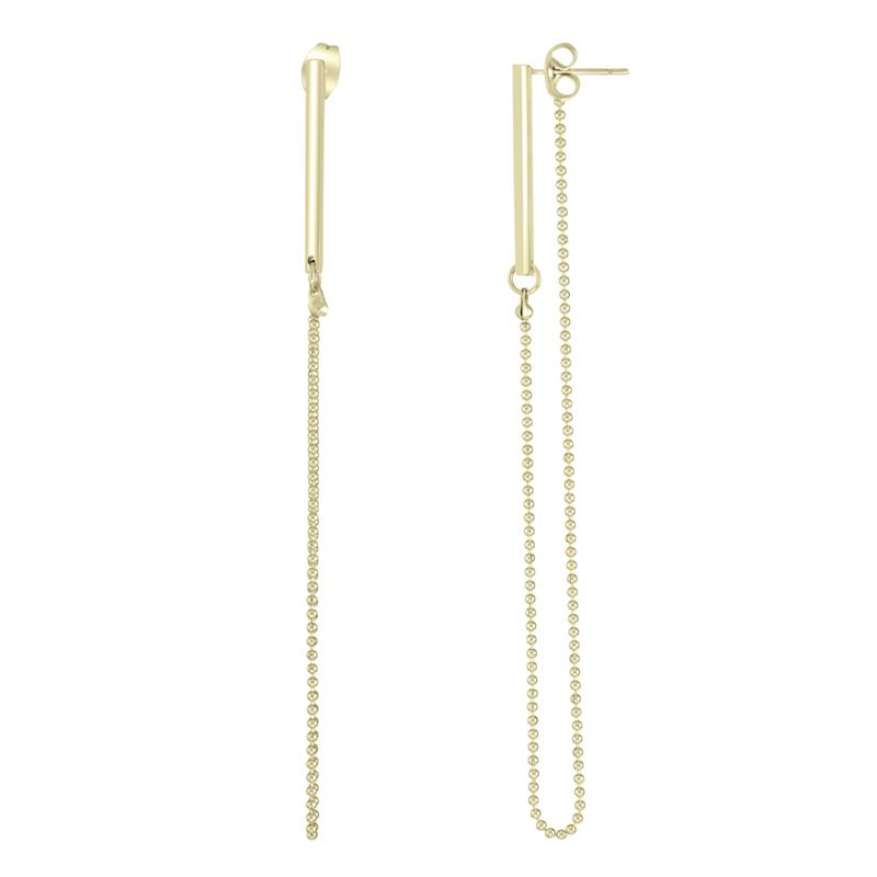 Stately Steel Bar and Chain Front/Back Drop Earrings