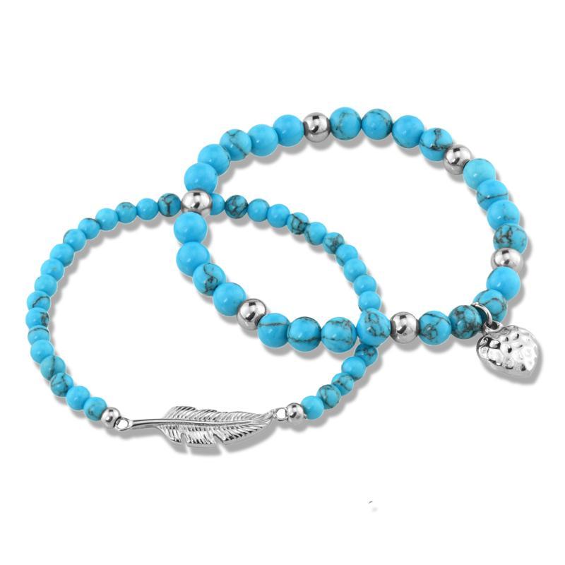 Stately Steel Blue Howlite Bead Stretch Bracelet Set of 2