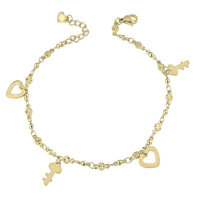 Stately Steel Crystal Heart and Key Dangle Anklet