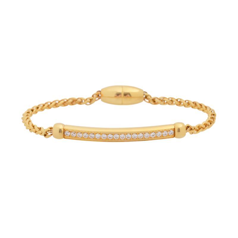 Stately Steel Cubic Zirconia Wheat-Link Bracelet