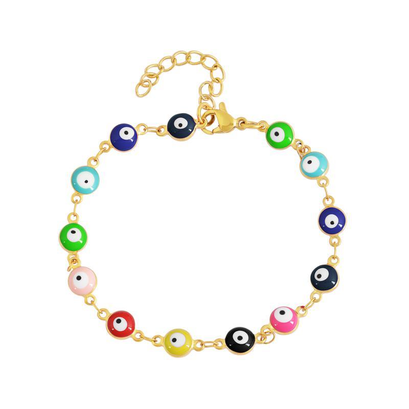 Stately Steel Enamel Evil Eye Chain Bracelet