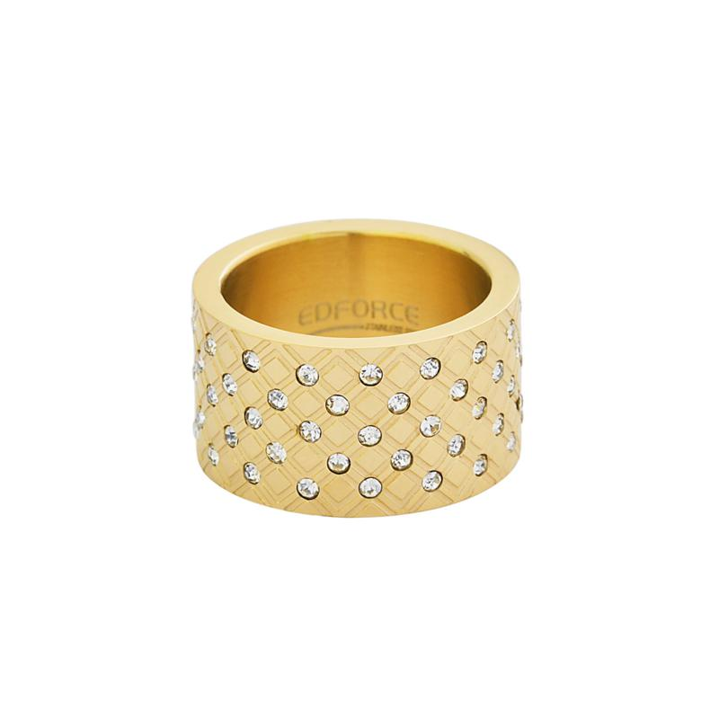 Stately Steel Goldtone Cubic Zirconia Wide Textured Ring
