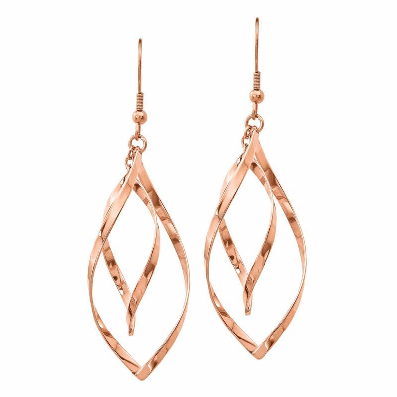 Stately Steel Swirl-Design Dangle Earrings - Rose