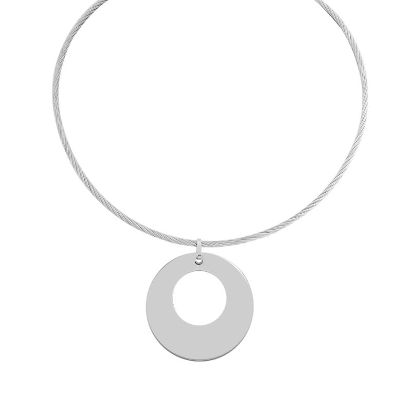 """Stately Steel Tapered Circle Pendant with 17"""" Wire Necklace"""