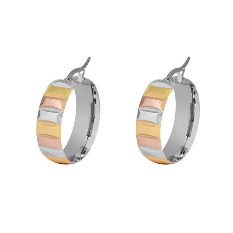Stately Steel Tri-Color Hugger Hoop Earrings