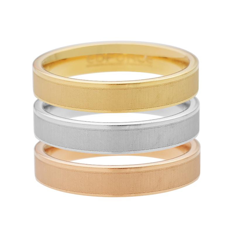 Stately Steel Tri-Colored Matte Finish Ring Set