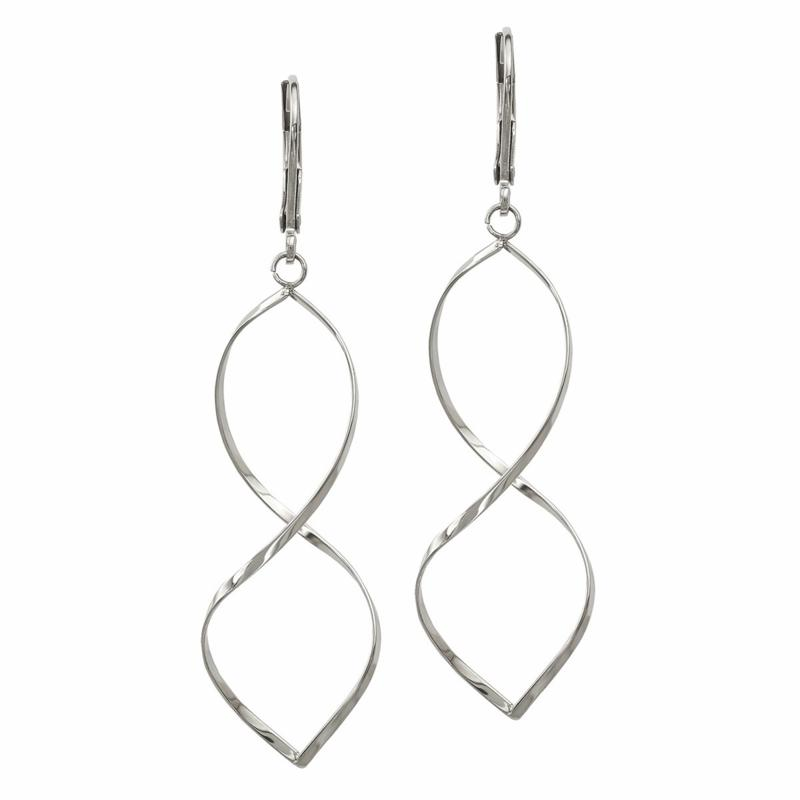 Stately Steel Twisted Dangle Earrings - White